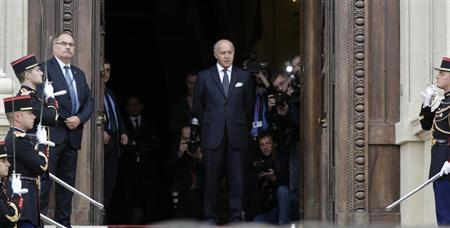 French Foreign Affairs Minister Fabius is seen at the Quai d'Orsay Foreign Ministry before the arrival of US Secretary of State Kerry in Paris