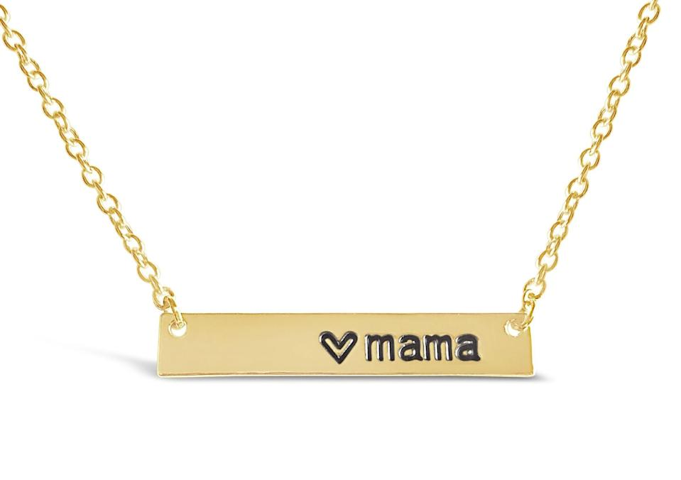"<h2>Rosa Vila Love ""Mama"" Bar Necklace</h2><br><br><strong>Rosa Vila</strong> Love Mama Bar Necklace, $, available at <a href=""https://amzn.to/2z8Elkm"" rel=""nofollow noopener"" target=""_blank"" data-ylk=""slk:Amazon"" class=""link rapid-noclick-resp"">Amazon</a>"
