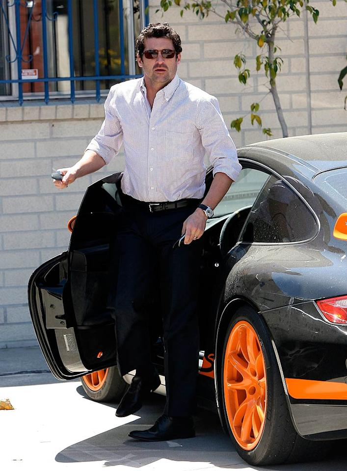 """""""Grey's Anatomy"""" fans were looking forward to seeing Derek (Patrick Dempsey, seen here with his Porsche GT3 on Thursday) and Meredith (Ellen Pompeo) wed last week. Instead, an ailing Izzie (Katherine) and Alex (Justin Chambers) tied the knot instead. <a href=""""http://www.x17online.com"""" target=""""new"""">X17 Online</a> - May 7, 2009"""