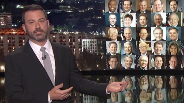 Jimmy Kimmel barely held back his tears on Monday night as he spoke about his hometown of Las Vegas, where a gunman killed at least 50 people and left more than 500 injured on Sunday night.