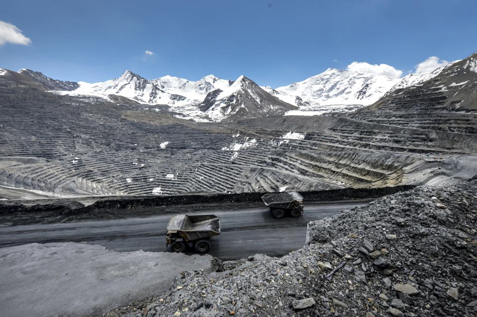 A view of the Kumtor gold mine, in Kumtor 350 kilometers east of Bishkek, Kyrgyzstan, Friday, May 28, 2021. The investigation centers on the Kumtor gold mine, which has long been a controversial operation in Kyrgyzstan because of alleged environmental violations and strong sentiment that the government should nationalize it. In early May, the parliament passed a law allowing the state to take control of the mine for three months from its Canada-based operator Centerra and a court levied a $3 billion fine for environmental claims. (AP Photo/Vladimir Voronin)