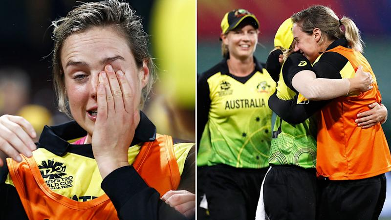 Pictured here, Ellyse Perry sheds tears of joy after Australia seals its spot in the Women's T20 World Cup final.