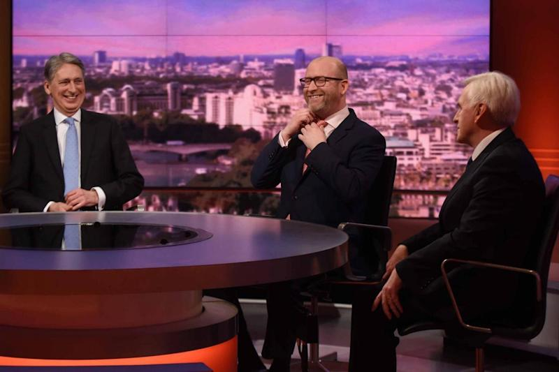 Mr Hammond with Ukip leader Paul Nuttall and Shadow Chancellor John McDonnell, who also appeared on the show (PA)