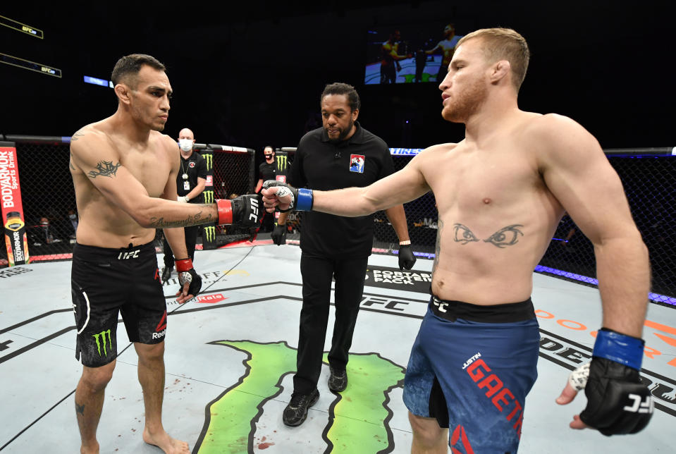 JACKSONVILLE, FLORIDA - MAY 09: (L-R) Opponents Tony Ferguson and Justin Gaethje face off prior to their UFC interim lightweight championship fight during the UFC 249 event at VyStar Veterans Memorial Arena on May 09, 2020 in Jacksonville, Florida. (Photo by Jeff Bottari/Zuffa LLC)