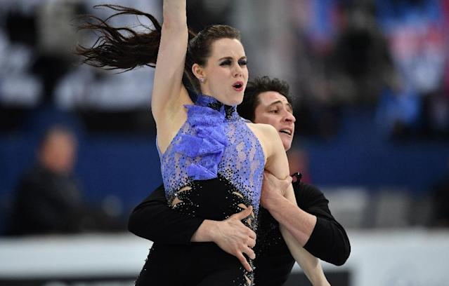 Canadian ice dancers Tessa Virtue and Scott Moir perform at the world figure skating championships in Helsinki, on March 31, 2017 (AFP Photo/Daniel MIHAILESCU)