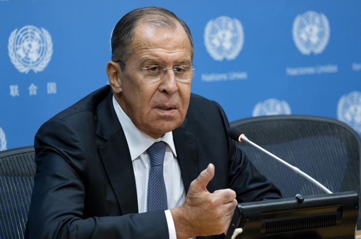 Russia's Foreign Minister Sergey Lavrov speaks during news conference at the 73rd session of the United Nations General Assembly, at U.N. headquarters, Friday, Sept. 28, 2018. (AP Photo/Craig Ruttle)