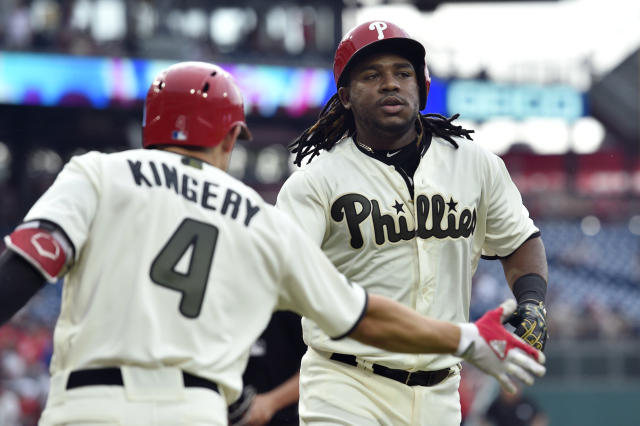 Philadelphia Phillies' Maikel Franco, right, is congratulated by Scott Kingery after hitting a solo home run off Toronto Blue Jays' Jaime Garcia during the fifth inning of a baseball game, Saturday, May 26, 2018, in Philadelphia. (AP Photo/Derik Hamilton)