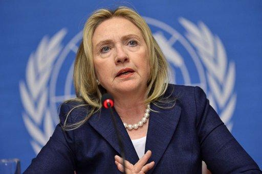 US Secretary of State Hillary Clinton speaks during a press conference at the United Nations offices in Geneva. Clinton made it clear that Washington did not see any role for President Bashar al-Assad in the new regime, even though there was no explicit call for him to cede power
