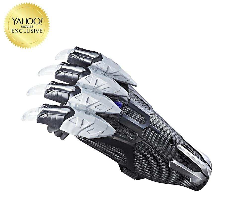 "<p>""Battle like the warrior king Black Panther with this movie-inspired Vibranium Power FX Claw! This claw features slashing sound effects and lights that are activated with surface contact."" $19.99 (Photo: Hasbro) </p>"