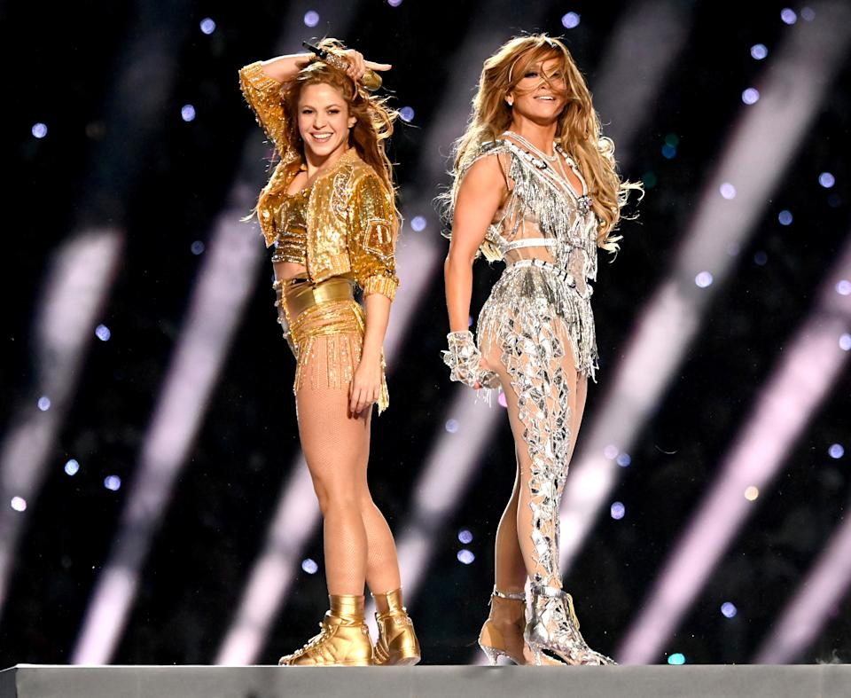 MIAMI, FLORIDA - FEBRUARY 02:  Shakira and Jennifer Lopez perform  onstage during the Pepsi Super Bowl LIV Halftime Show at Hard Rock Stadium on February 02, 2020 in Miami, Florida.  (Photo by Kevin Mazur/WireImage)