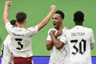 Arsenal's Pierre-Emerick Aubameyang, 2nd right, celebrates after scoring the opening goal during the English FA Community Shield soccer match between Arsenal and Liverpool at Wembley stadium in London, Saturday, Aug. 29, 2020. (Justin Tallis/Pool via AP)