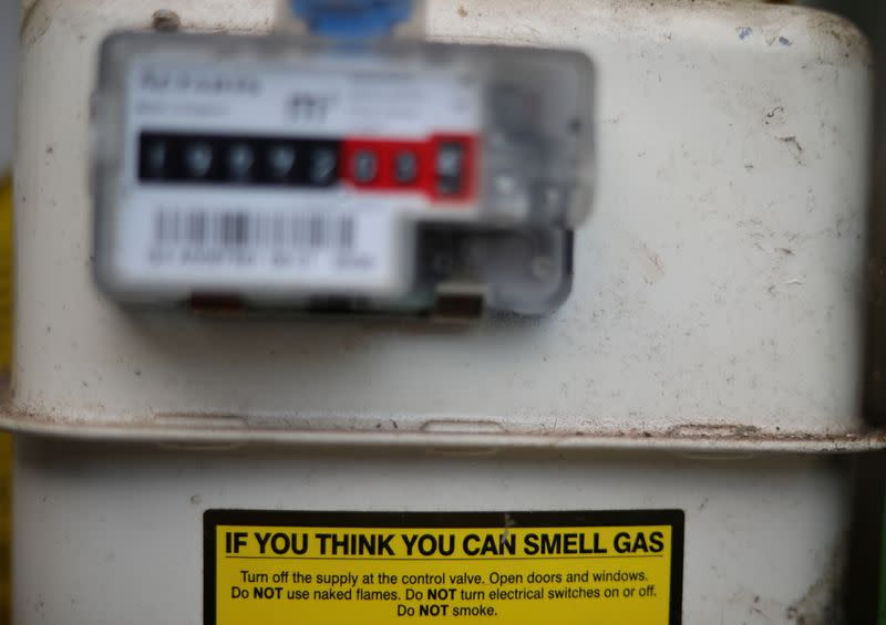 FILE PHOTO: A warning label is seen on the front of a gas meter at a house in Manchester