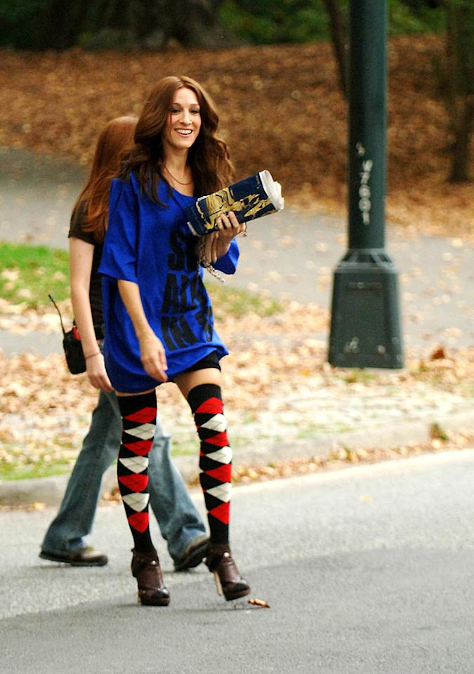 "Clad in argyle thigh-high stockings, Sarah Jessica Parker makes her way through Central Park to film a scene with co-star Cynthia Nixon. Jason Winslow/<a href=""http://www.splashnewsonline.com/"" target=""new"">Splash News</a> - October 9, 2007"