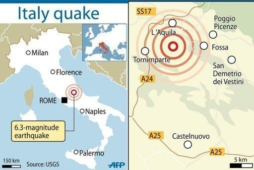 Map locating L'Aquila plus the surrounding towns hit by the strong earthquake in 2009
