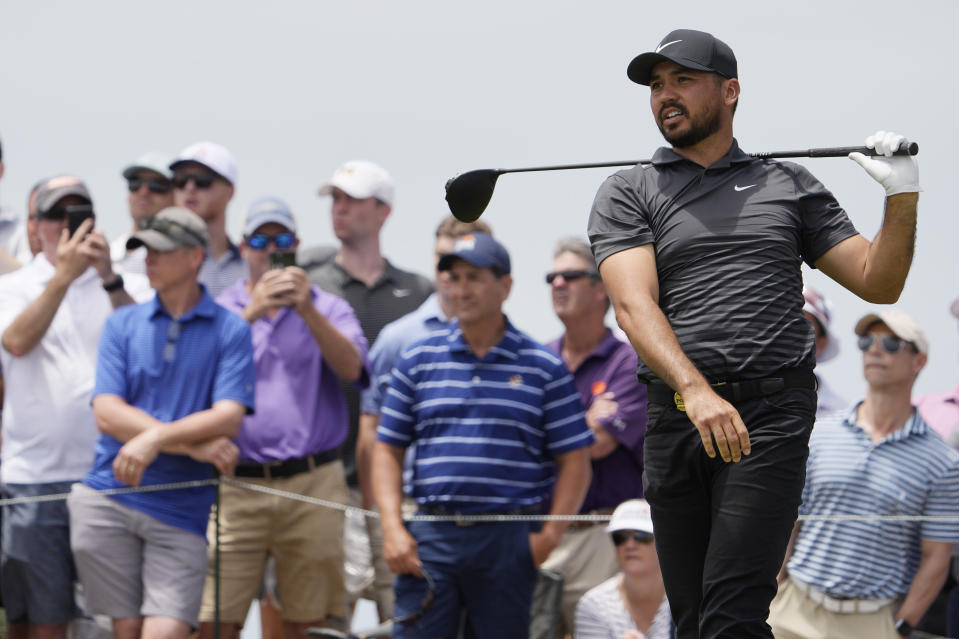 Jason Day, of Australia, watches his tee shot on the 15th tee during a practice round at the PGA Championship golf tournament on the Ocean Course Wednesday, May 19, 2021, in Kiawah Island, S.C. (AP Photo/David J. Phillip)