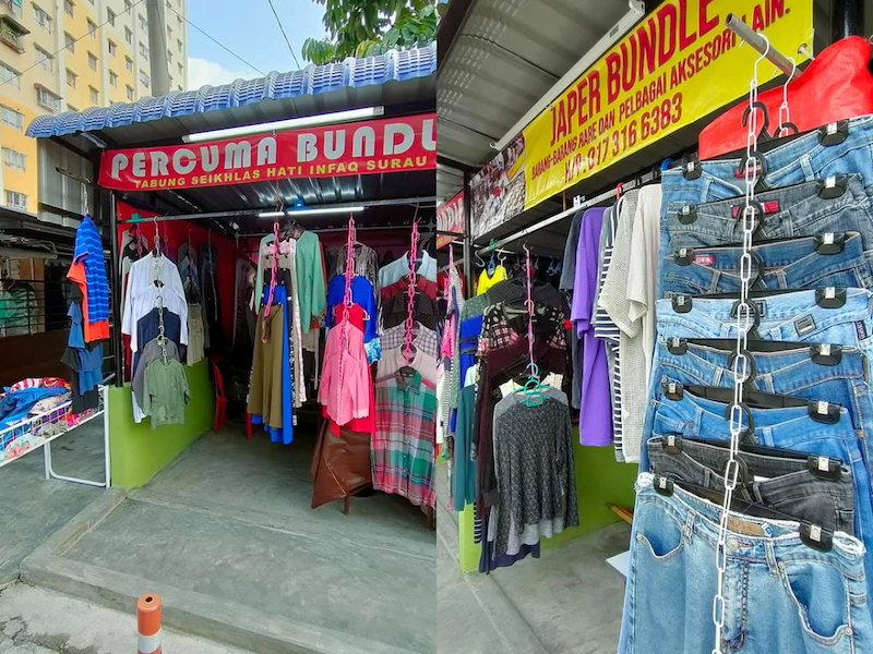 A team of volunteers from Taman Medan Cahaya spearheaded by RTM's cameraman, Japeridin Sampol, is giving away used clothes for free to those in need. — Picture courtesy of Facebook/Japer Japer