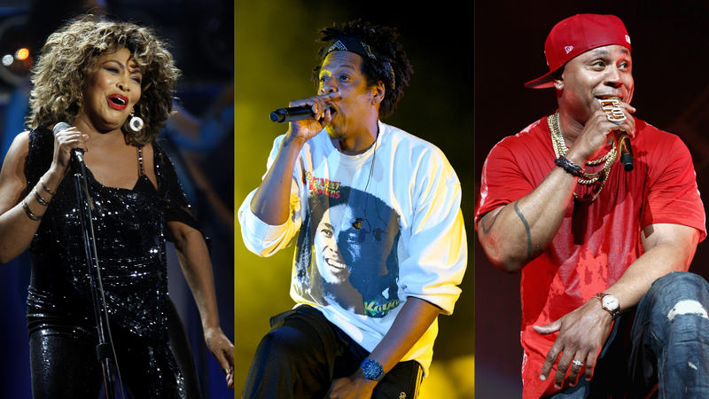 Tina Turner performs  on March 21, 2009; Jay-Z performs onstage  on April 27, 2019; LL Cool J performs on June 21, 2018.