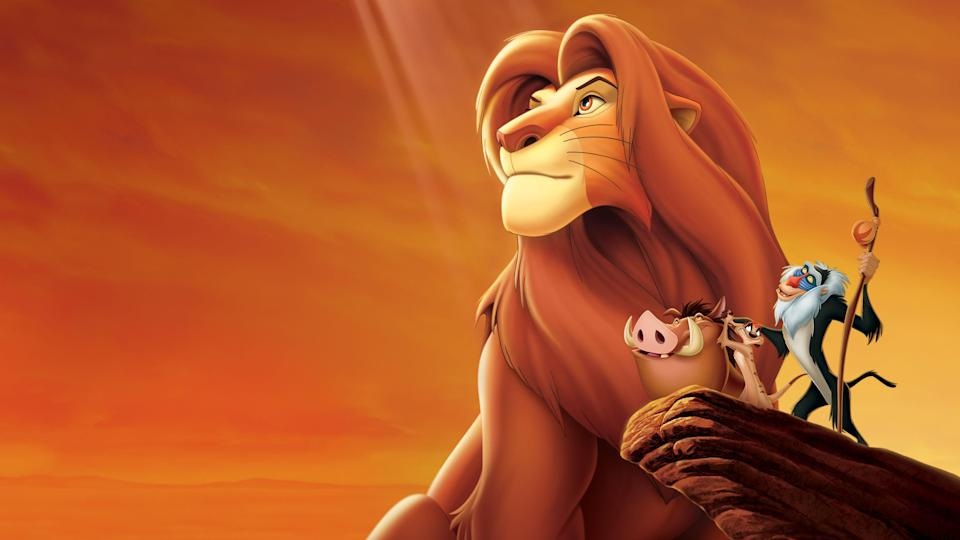 """<p>disneyplus.com</p><p><a href=""""https://go.redirectingat.com?id=74968X1596630&url=https%3A%2F%2Fwww.disneyplus.com%2Fmovies%2Fthe-lion-king-the-walt-disney-signature-collection%2F1HqwiEcje6Nj&sref=https%3A%2F%2Fwww.countryliving.com%2Flife%2Fentertainment%2Fg30875475%2Fkids-movies-disney-plus%2F"""" rel=""""nofollow noopener"""" target=""""_blank"""" data-ylk=""""slk:STREAM NOW"""" class=""""link rapid-noclick-resp"""">STREAM NOW</a></p><p>Our """"problem-free philosophy"""" is to watch Simba, Timon, and Pumbaa as many times as we can.</p>"""