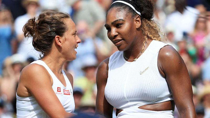 Serena Williams shakes hands with Barbora Strycova after their match at Wimbledon. (Photo by Simon Stacpoole/Offside/Getty Images)