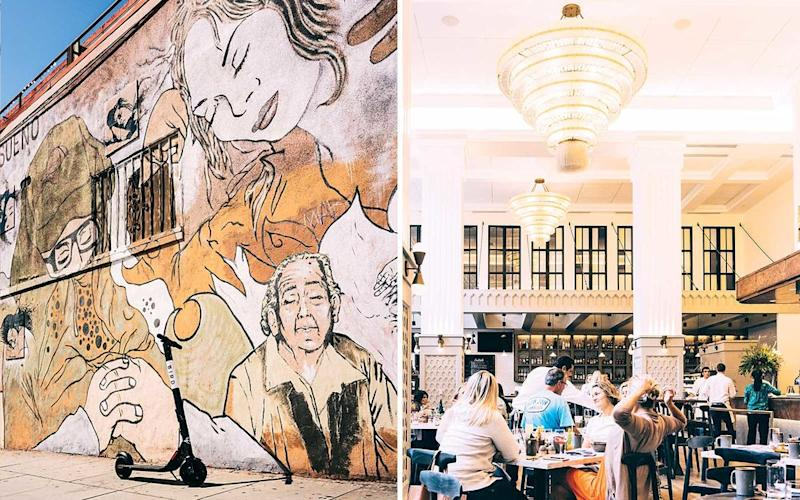 From left: A mural off Logan Avenue; Provisional, the restaurant at the Pendry San Diego hotel. | Misha Gravenor