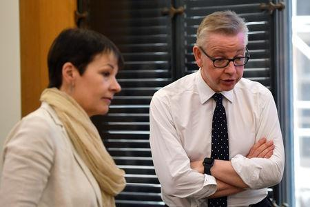 Britain's Secretary of State for Environment, Food and Rural Affairs Michael Gove speaks next to Britain's Green Party MP Caroline Lucas as her guest, Swedish environmental activist Greta Thunberg (not pictured), gives a speech at the House of Commons, in London, Britain April 23, 2019. REUTERS/Toby Melville