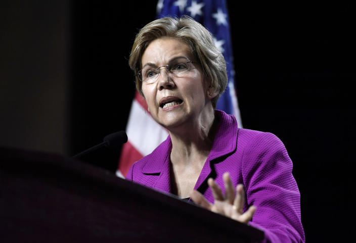 Sen. Elizabeth Warren speaks to delegates during the Massachusetts Democratic Party convention in Springfield on Saturday. (Photo: Jessica Hill/AP)