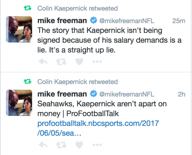 Colin Kaepernick appears to want to let people know that him not signing with the Seahawks has nothing to do with salary. (@Kaepernick7)