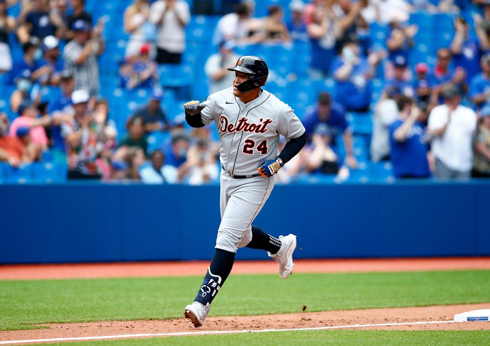 Miguel Cabrera rounds the bases  after hitting his 500th career home run in the sixth inning of Sunday's game against the Toronto Blue Jays at Rogers Centre