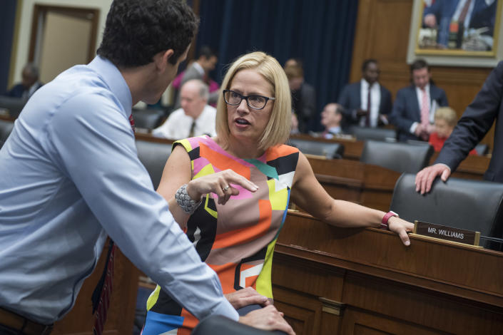 Kyrsten Sinema with Rep. Trey Hollingsworth, R-Ind., before a House Financial Services Committee hearing in June. (Photo: Tom Williams/CQ Roll Call)