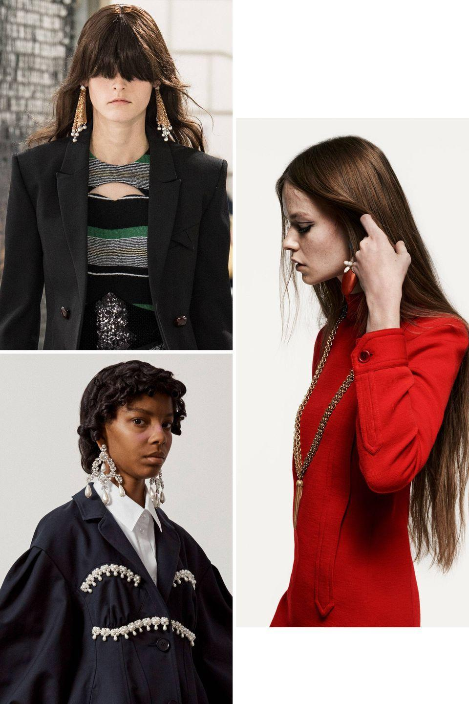 <p>Do your ears hang low? Do they wobble to and fro? Well, according to many of the spring 2021 collections, they should. From London to Paris, designer labels presented a variety of earrings that all dropped it like it was hot. </p><p>Saint Laurent, for example, displayed mod-inspired earrings made of resin and metal with flower-shaped posts. Simone Rocha offered ornate chandeliers made of white beads that resembled pearls. And Paco Rabanne reimagined its signature chain-mail dresses into shoulder-grazing earrings.</p><p>These earrings are not for shrinking violets, but for fire starters. They pop, frame the face, and (sticking with the heat analogy) truly sizzle. </p><p><em>Clockwise from left: Paco Rabanne, Saint Laurent, Simone Rocha.</em></p>