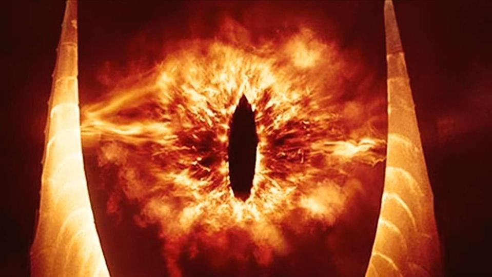 Sauron's fiery eye as seen in The Lord of the Rings film trilogy by Peter Jackson.