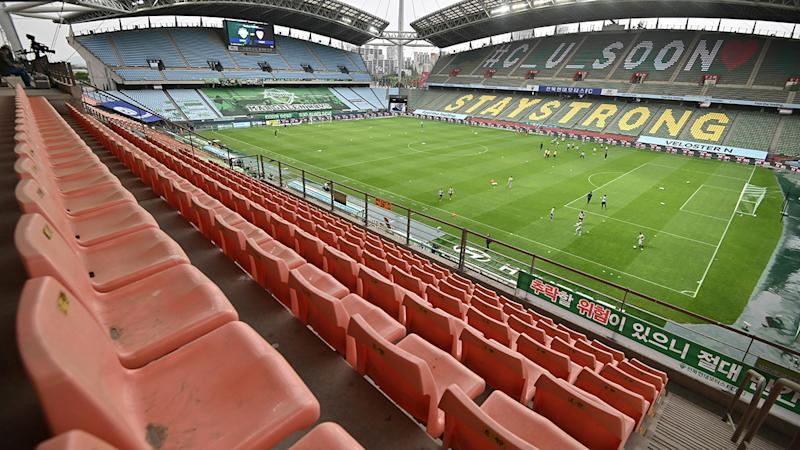 A match in South Korea's K-League, pictured here without any fans in attendance.