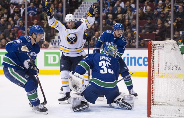 Buffalo Sabres left wing Evan Rodrigues (71) celebrates his goal past Vancouver Canucks goaltender Thatcher Demko (35) during the first period of an NHL hockey game Friday, Jan. 18, 2019, in Vancouver, British Columbia. (Jonathan Hayward /The Canadian Press via AP)