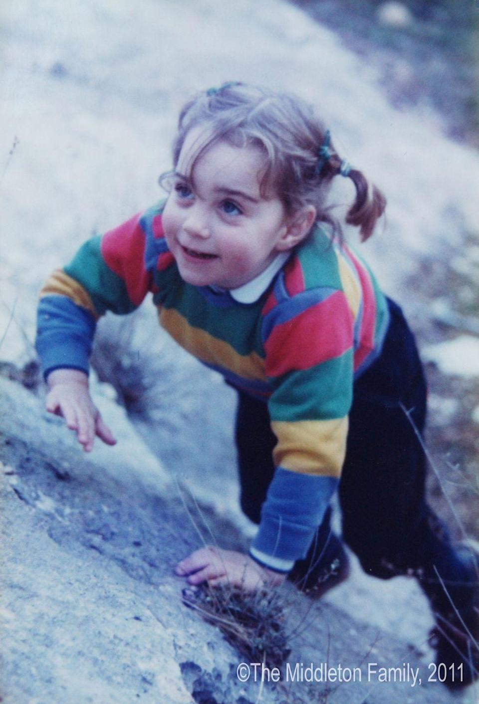 <p>A three-year-old Kate climbed around on rocks during a family holiday to the Lake District in northwest England. </p>