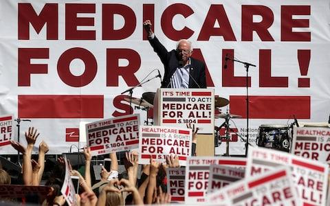 Bernie Sanders speaking during a health care rally in 2017 - Credit: Justin Sullivan/Getty Images