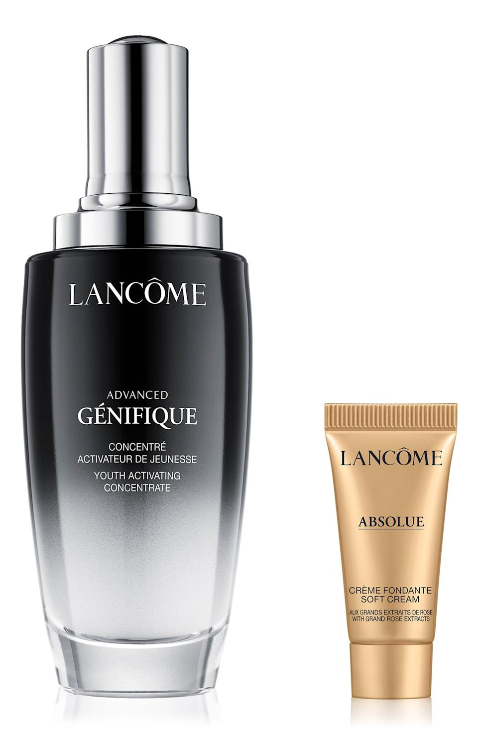 """<p><strong>Lancôme</strong></p><p>nordstrom.com</p><p><a href=""""https://go.redirectingat.com?id=74968X1596630&url=https%3A%2F%2Fwww.nordstrom.com%2Fs%2Flancome-jumbo-size-advanced-genifique-radiance-boosting-set-218-value%2F6090084&sref=https%3A%2F%2Fwww.harpersbazaar.com%2Fbeauty%2Fg36991550%2Fnordstrom-anniversary-sale-beauty-deals%2F"""" rel=""""nofollow noopener"""" target=""""_blank"""" data-ylk=""""slk:Shop Now"""" class=""""link rapid-noclick-resp"""">Shop Now</a></p><p><strong>Set: $133</strong></p><p><strong>Value: $218</strong></p><p>Lancôme's Advanced Génifique Radiance, also a <a href=""""https://www.harpersbazaar.com/beauty/skin-care/a26412880/anti-aging-awards/"""" rel=""""nofollow noopener"""" target=""""_blank"""" data-ylk=""""slk:2021 BAZAAR Anti-Aging Awards winner"""" class=""""link rapid-noclick-resp"""">2021 BAZAAR Anti-Aging Awards winner</a>, is a dry-skin friendly brightening serum formulated with all the greatest hits. Think: hyaluronic acid, vitamin C, and ceramides. In addition to an oversized version of the Advanced Génifique serum, this set also comes with a travel-size soft cream facial moisturizer.</p>"""