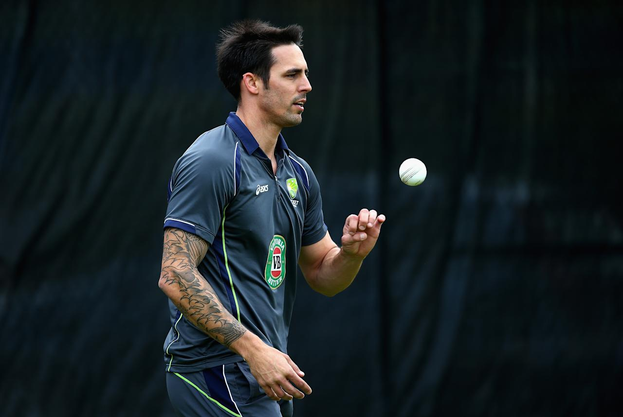 BIRMINGHAM, ENGLAND - SEPTEMBER 10:  Mitchell Johnson of Australia prepares to bowl during a net session ahead of the third NatWest One Day International Series match between England and Australia at Edgbaston on September 10, 2013 in Birmingham, England.  (Photo by Clive Mason/Getty Images)