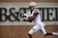 Boston College's Jeff Smith (6) makes a touchdown reception during the first half of an NCAA college football game against Wake Forest, Thursday, Sept. 13, 2018, in Winston-Salem, N.C. (AP Photo/Woody Marshall)
