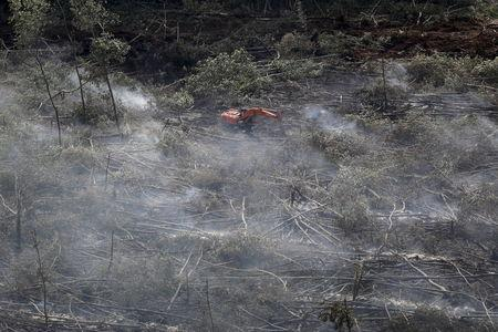 An aerial photo shows smoke from peatland fires near a piece of heavy equipment in a forestry concession in Ogan Ilir, South Sumatra province August 30, 2015, in this photo taken by Antara Foto. REUTERS/Nova Wahyudi/Antara Foto