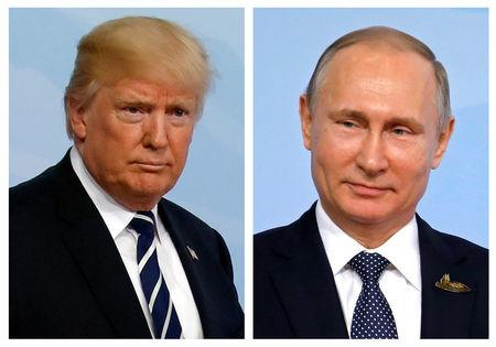 FILE PHOTO - A combination of two photos shows U.S. President Donald Trump and Russian President Vladimir Putin as they arrive for the G20 leaders summit in Hamburg, Germany, July 7, 2017. REUTERS/Carlos Barria/File Photo