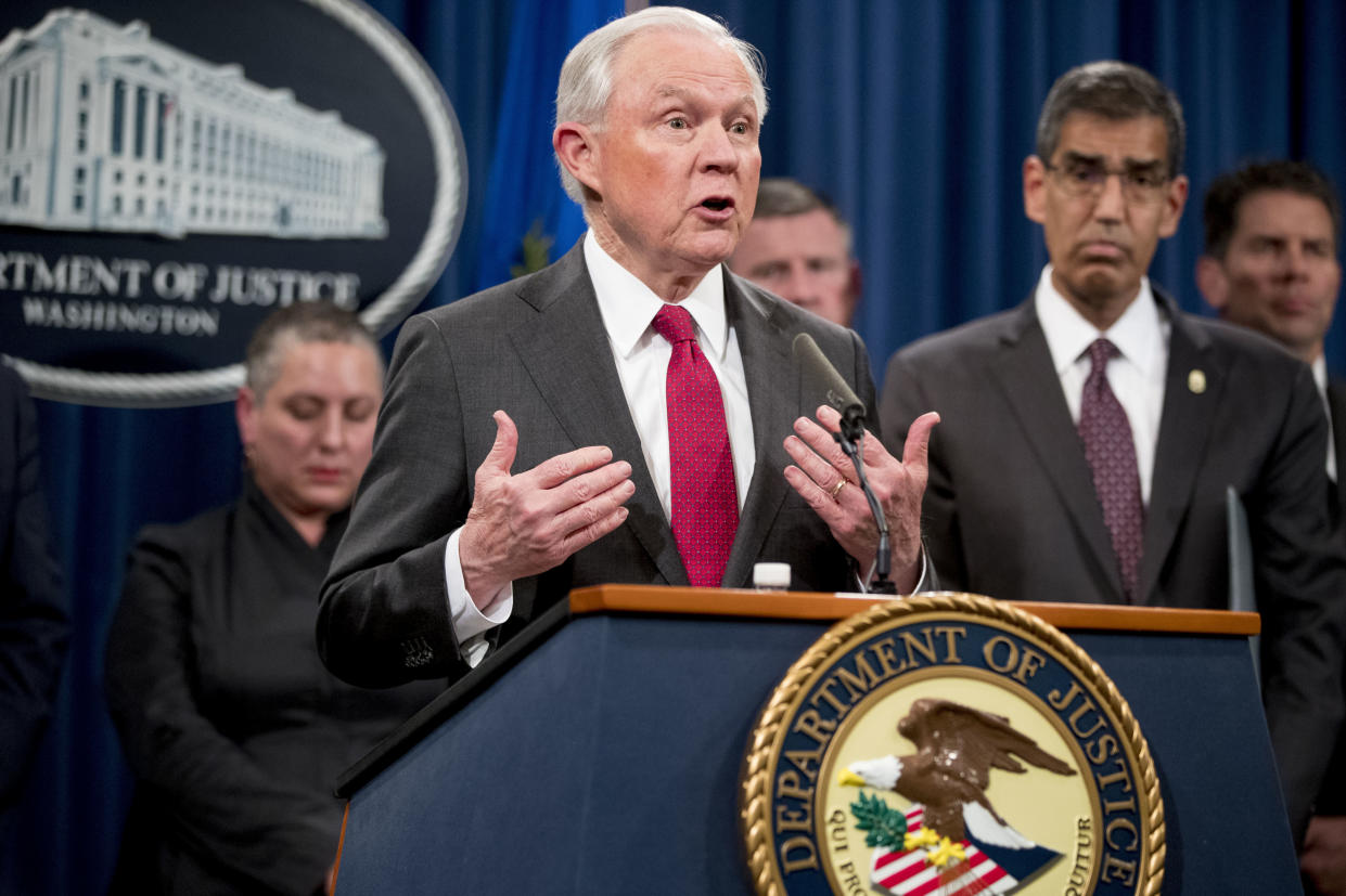 Attorney General Jeff Sessions speaks at a news conference on Oct. 16, 2018, at the Justice Department. (Photo: Andrew Harnik/AP)