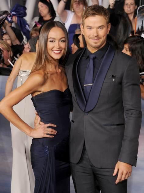 Kellan Lutz and Sharni Vinson arrive at 'The Twilight Saga: Breaking Dawn - Part 2' Los Angeles premiere at Nokia Theatre L.A. Live on November 12, 2012 in Los Angeles -- Getty Premium