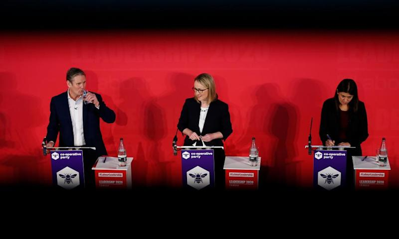 Keir Starmer with Rebecca Long-Bailey and Lisa Nandy at a hustings event