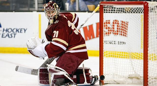 Boston College and goaltender Joseph Woll (31) have struggled out of the gate. (John Kavouris/Icon Sportswire via Getty)