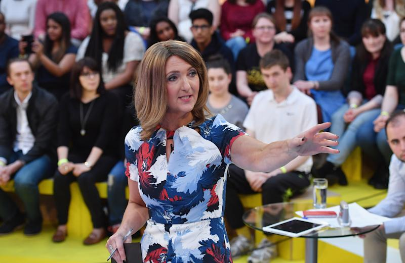 "GLASGOW, SCOTLAND - MAY 26: Presenter Victoria Derbyshire hosts ""How Should I Vote? - The EU Debate"" at The Briggait on May 26, 2016 in Glasgow. The BBC's first televised EU referendum debate was held in Glasgow in front of an audience of eighteen to twenty nine year olds and a panel of SNP's Alex Salmond and Labour's Alan Johnson backing staying in the EU while UKIP MEP Diane James and Conservative Liam Fox arguing to leave. (Photo by Jeff J Mitchell/Getty Images)"