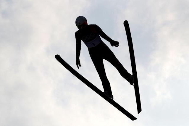 <p>Jasper Good of the United States makes a jump during the Nordic Combined Individual Gundersen Normal Hill and 10km Cross Country on day five of the PyeongChang 2018 Winter Olympics at Alpensia Cross-Country Centre on February 14, 2018 in Pyeongchang-gun, South Korea. (Photo by Clive Mason/Getty Images) </p>