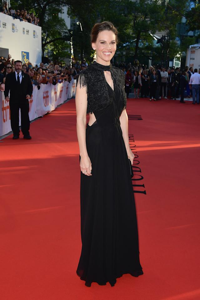 "<p>The two-time Oscar winner looked elegant in a black cut-out gown by Prada for the premiere of her latest film, ""What They Had."" </p>"