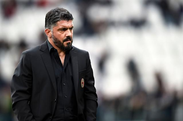 Manager Gennaro Gattuso and AC Milan have a critical fixture against fellow top-four contender Lazio this weekend. (Getty)