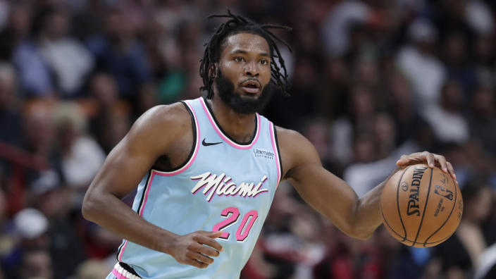 Memphis forward Justise Winslow fell during practice on Monday night and landed on his hip. (AP/Lynne Sladky)
