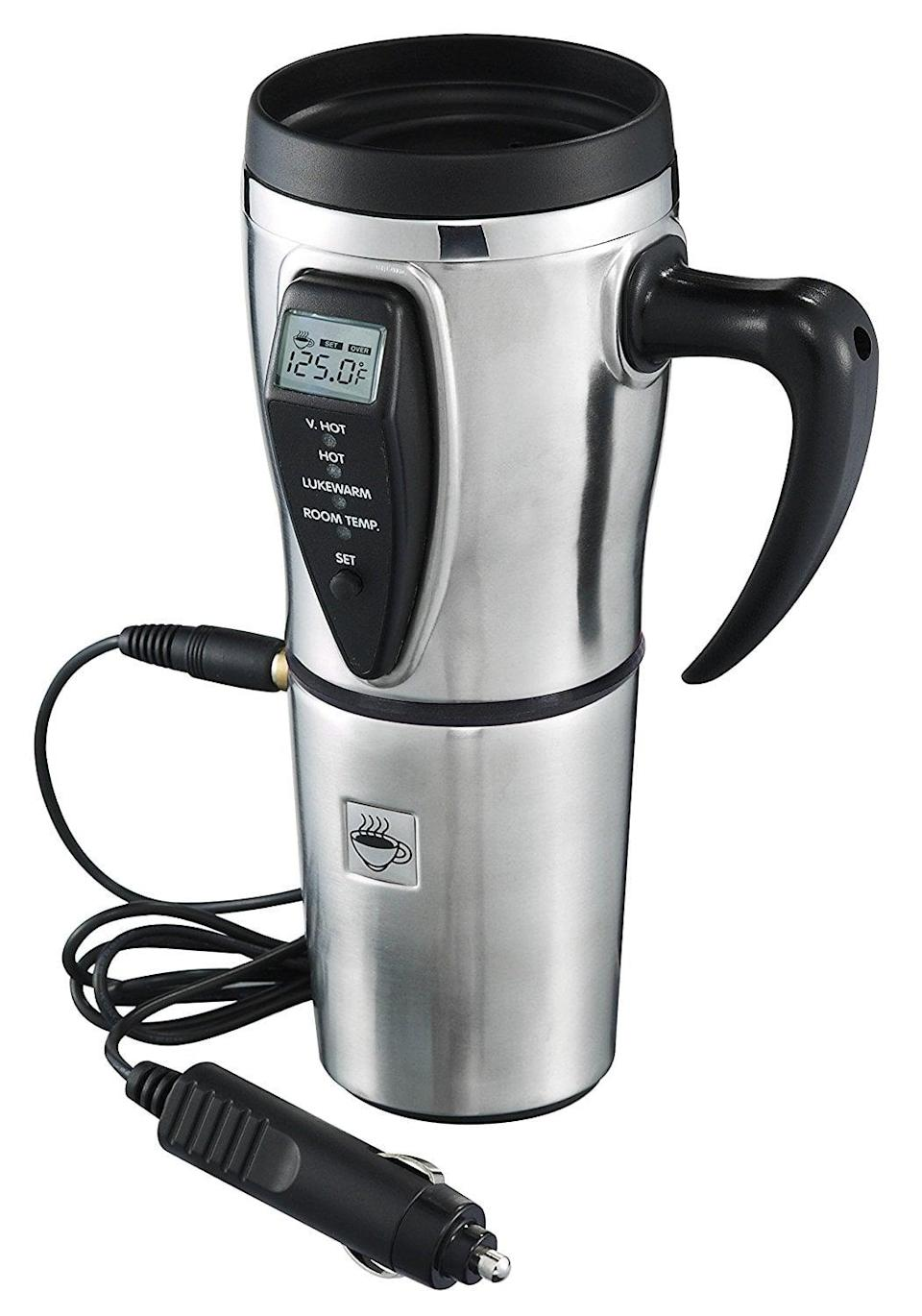 <p>Keep coffee constantly piping hot with this <span>Tech Tools Heated Smart Travel Mug</span> ($35).</p>